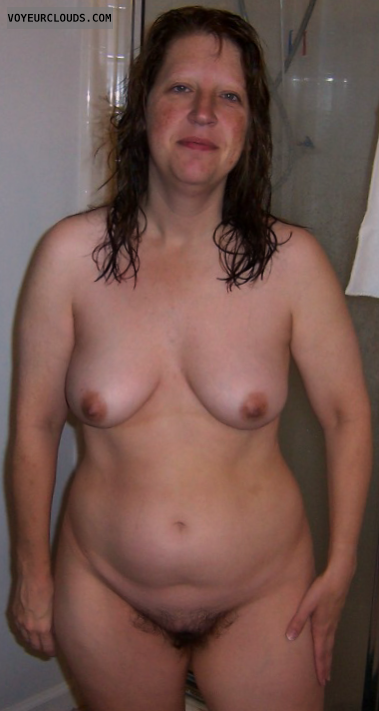 Hairy Pussy, Small Tits, Shower