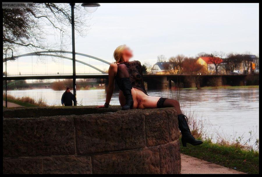 miniskirt, nude wife, milf, stockings, public, outdoor