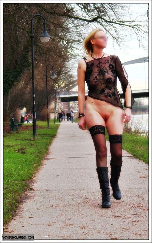 public, nude wife, stockings, heels, outdoor, milf