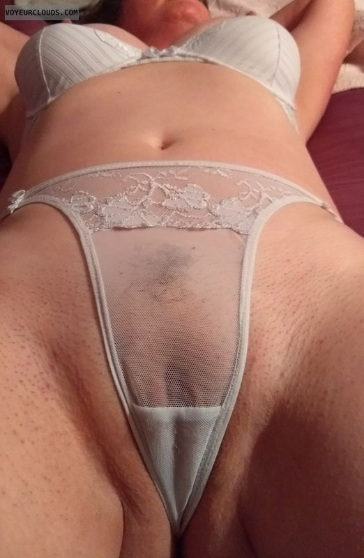 Shaved, thong, see through, nipples, clit