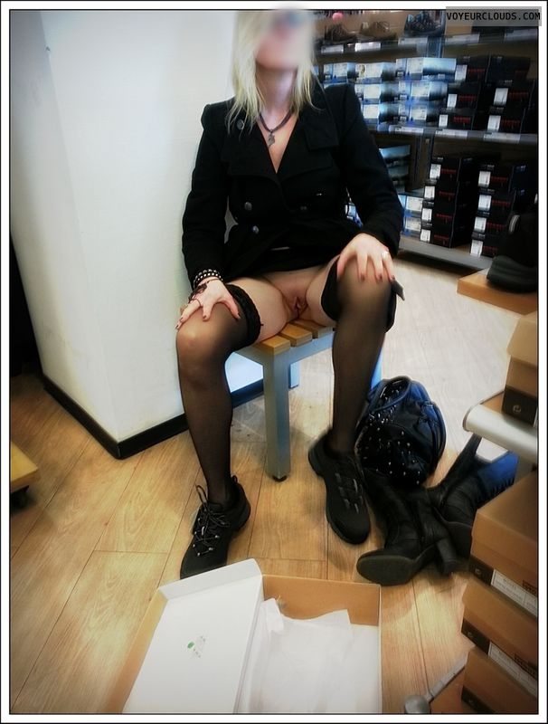 upskirt, shopping, shaved pussy, milf, blonde, long legs