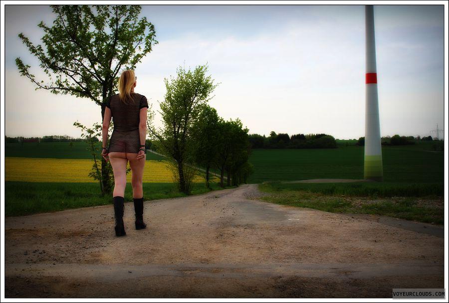 transparent dress, ass, long legs, nude wife, public