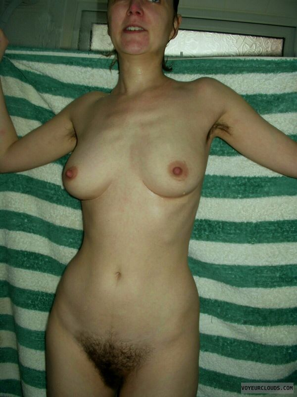 Mature woman, Wet tits, Hard nipples, Hairy pussy