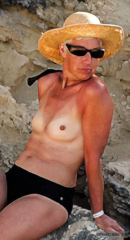 topless, beach, cuba, wife, small tits, perky tits
