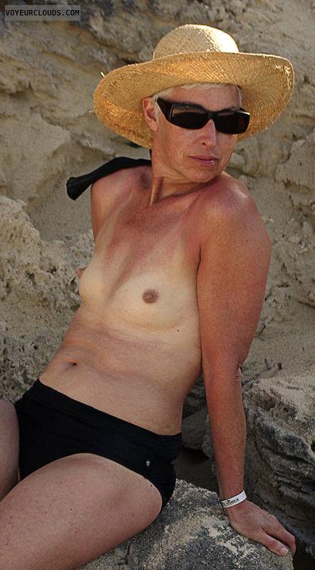 topless, wife, small tits, cuba, beach, perky tits