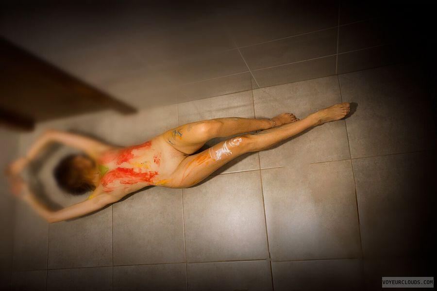 Nude,  long legs
