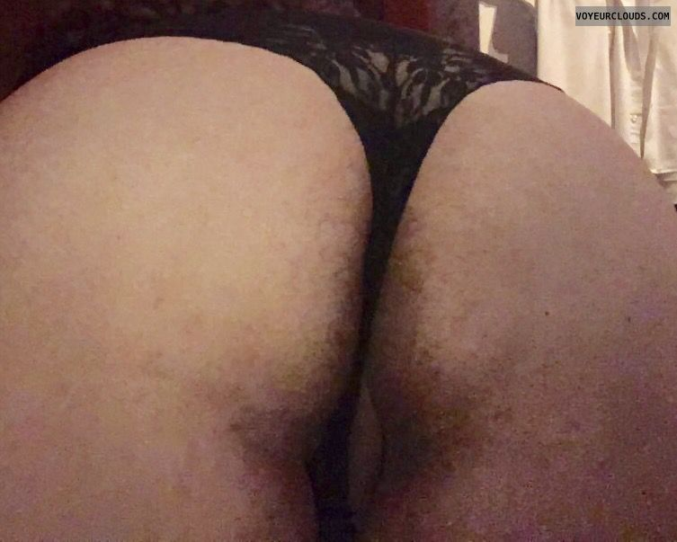 big ass, black lace thong, round ass, pussy peak, bend over