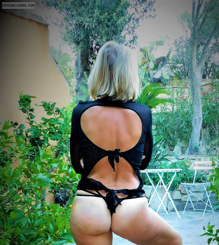 anna, wife, outside, lingerie, panties, ass