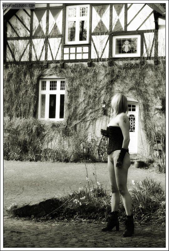 long legs, outdoor, public, nude wife, milf, heels
