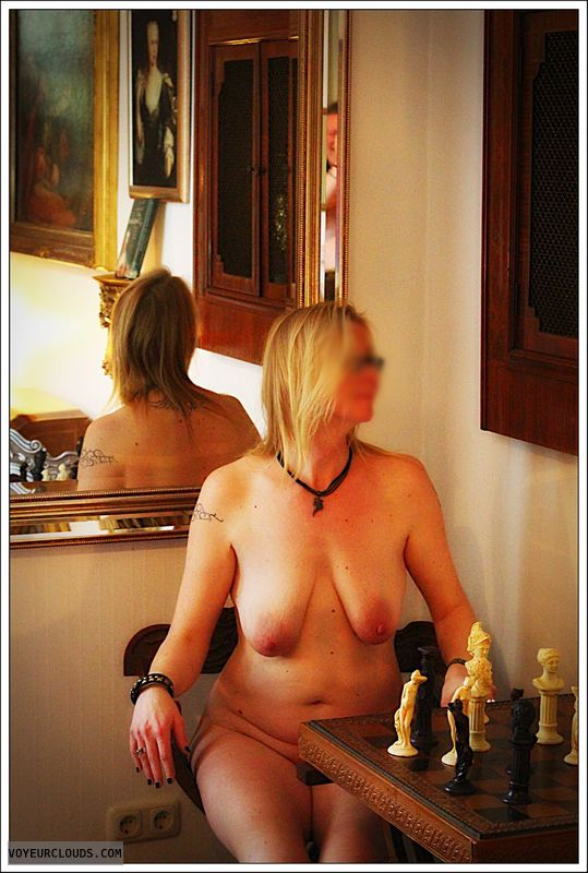 nude wife, small tits, mirror, milf, long legs, blonde