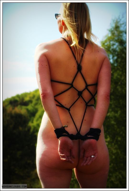 nude wife, bondage, outdoor, public, long legs, ass