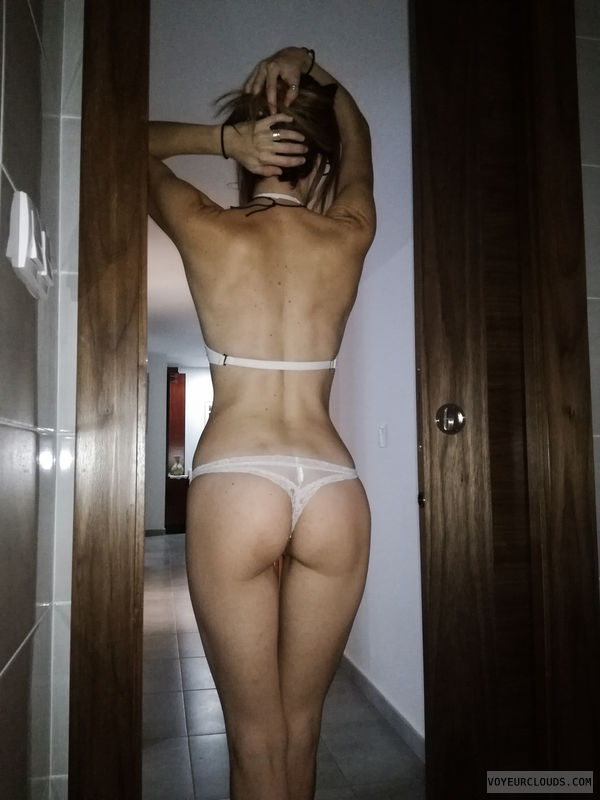 round ass, round butt, thong, back view