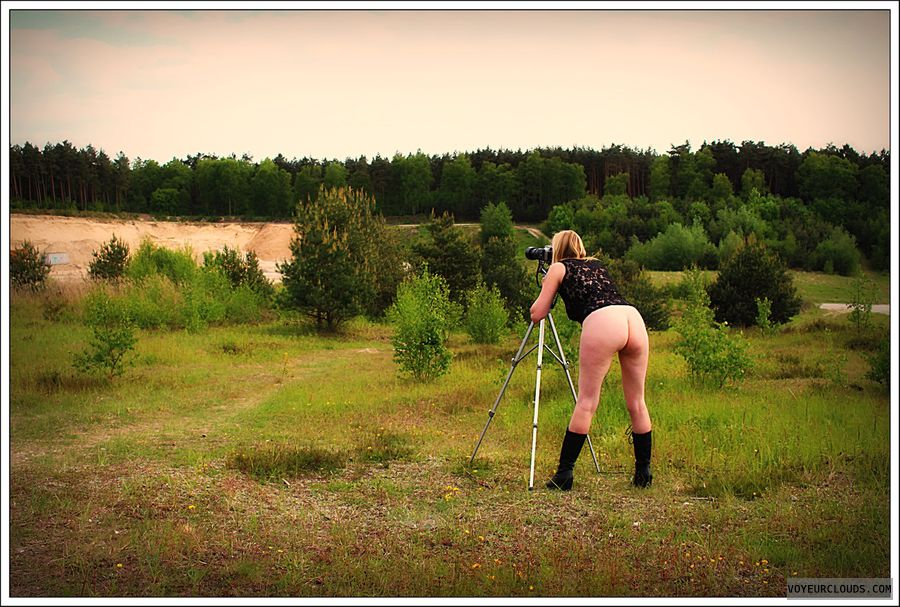 outdoor, nude wife, long legs, boots, public, milf