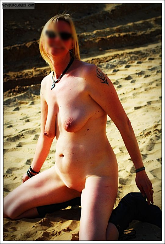 nude wife, blonde, outdoor, public, spread legs, shaved pussy