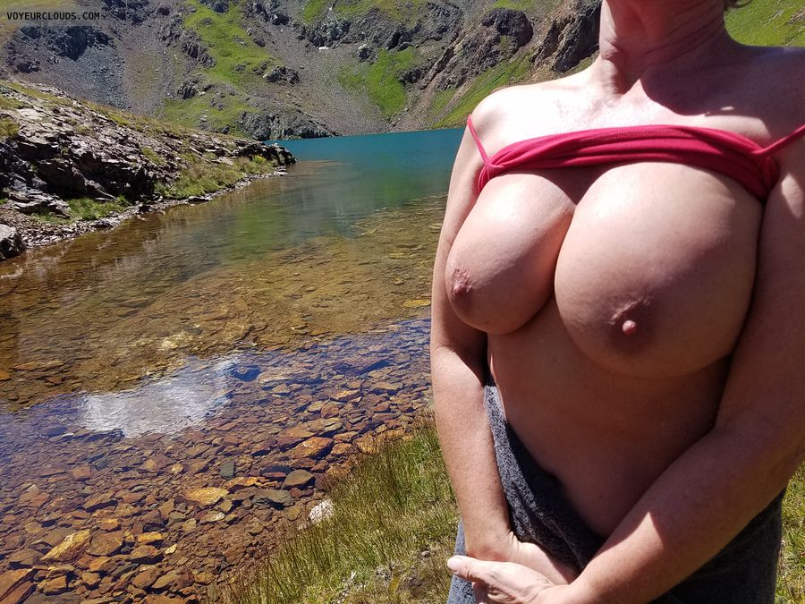 Hard nipples, Outdoor flashing, GILF boobs, Enhanced boobs