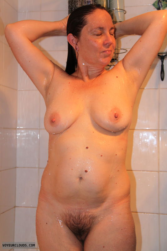 hairy pussy, nude milf, wife tits, shower, big tits
