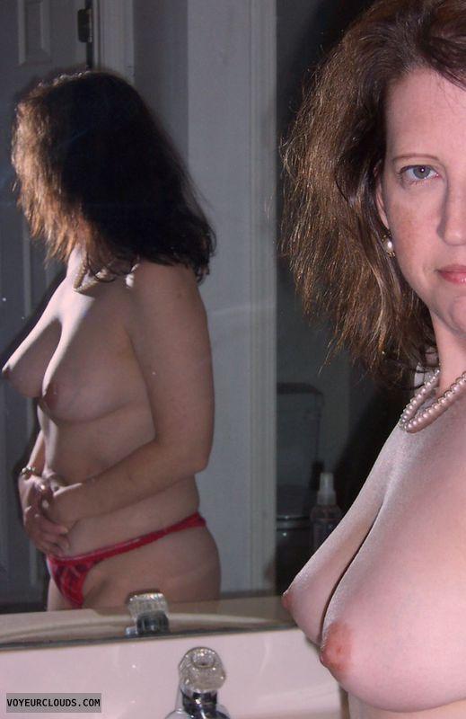 Small Tits, hard nipples, topless, Mirror pic