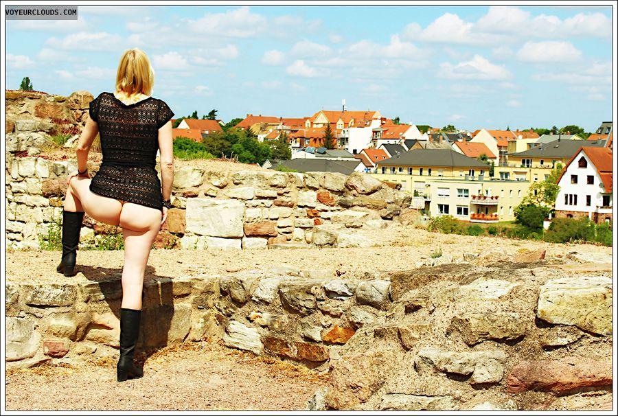 outdoor, public, ass, nude wife, milf, boots, transparent dress