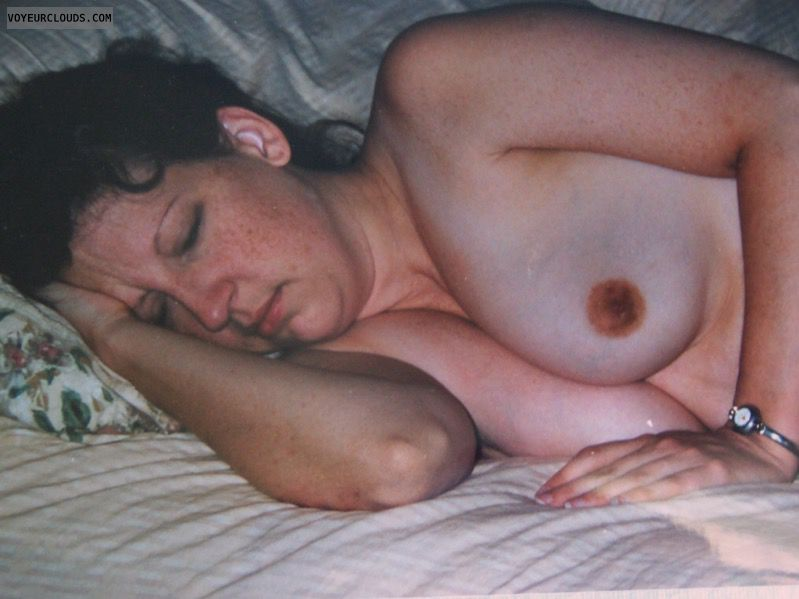small boobs, Small Tits, Sleeping, Topless, dark areolas
