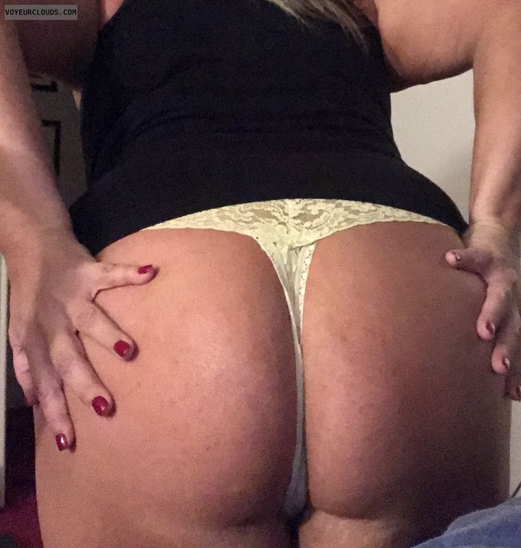 Thong, sexy wife, white ass, round ass, big ass, soft ass