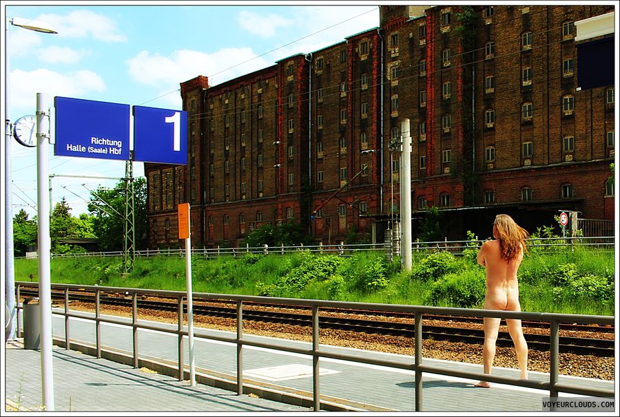 nude male, man\'s ass, outdoor, public, station, barefeet