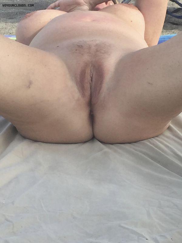 pussy, pubic hair, tits, nipples, public, beach, nude
