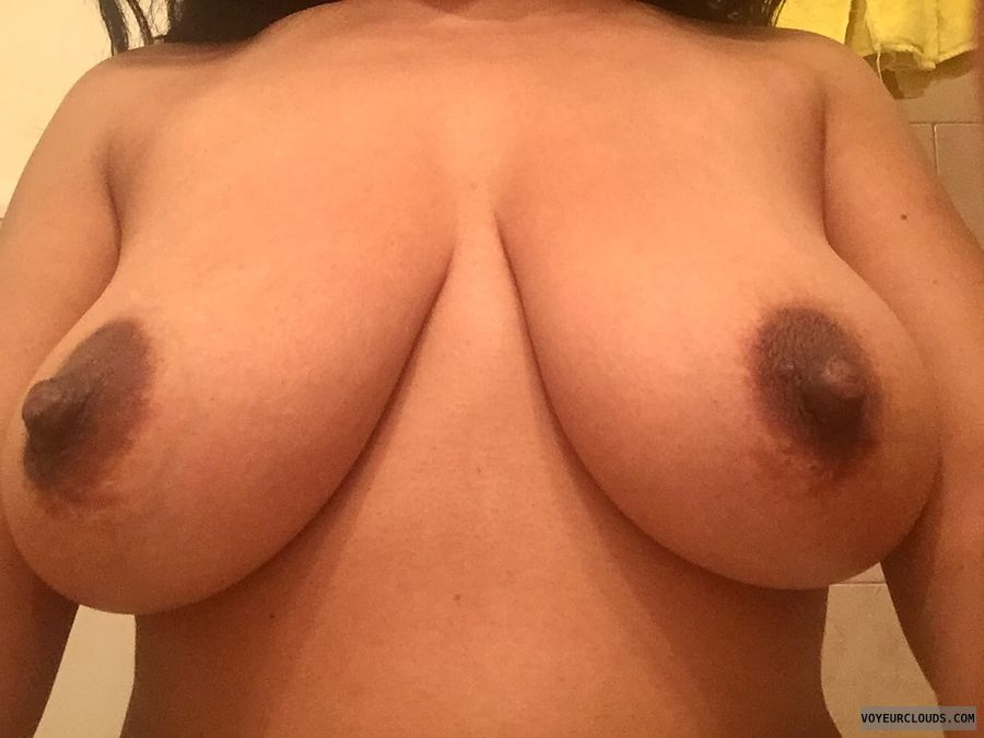 Close up of my tits for my VC men, big tits, hard nipples