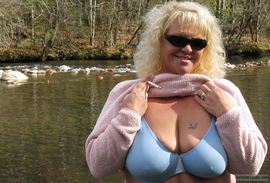 wife, blonde, outdoors, bra, big tits, hard nipples