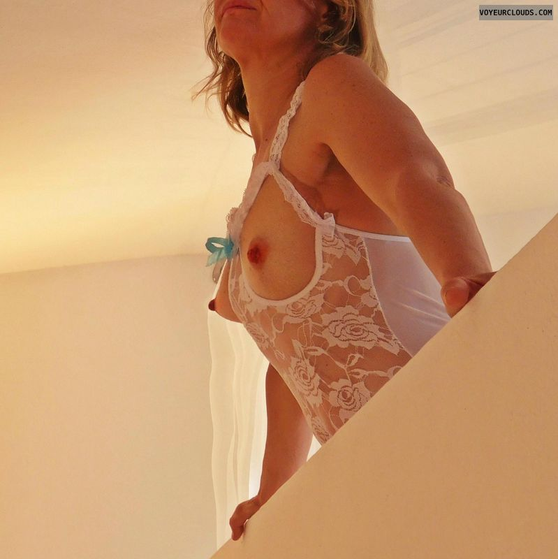 anna, wife, sheer, white lingerie, small tits, hard nipples