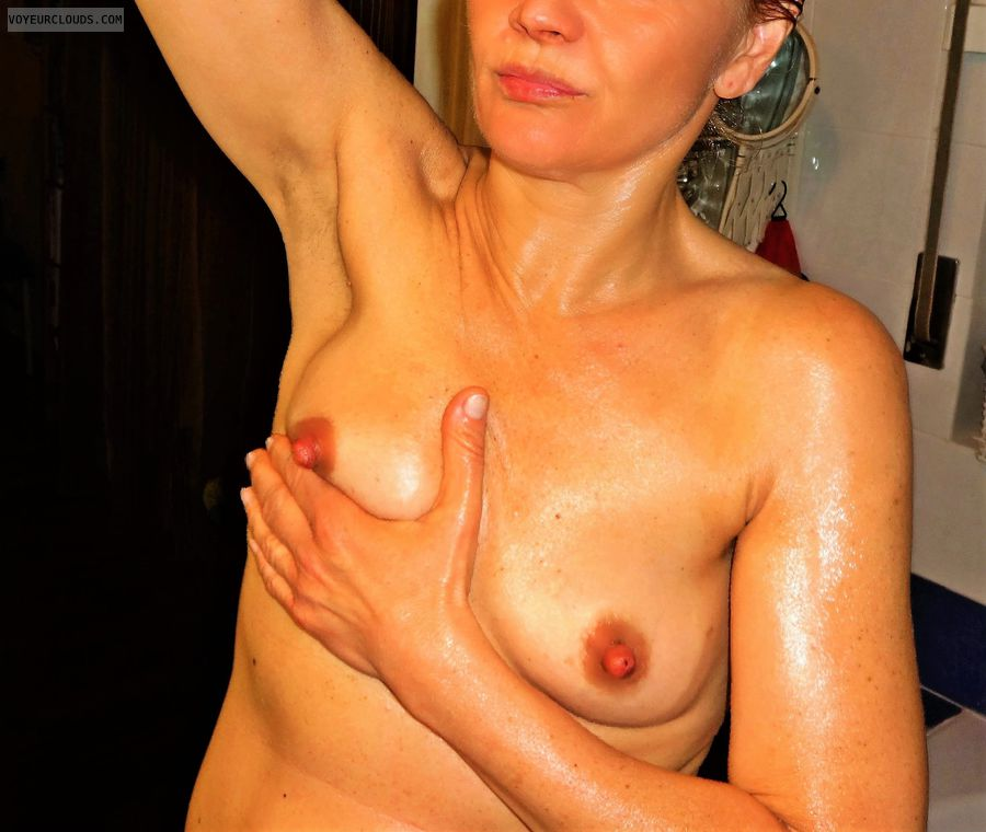 anna, wife, oil, massage, hard nipples, small tits
