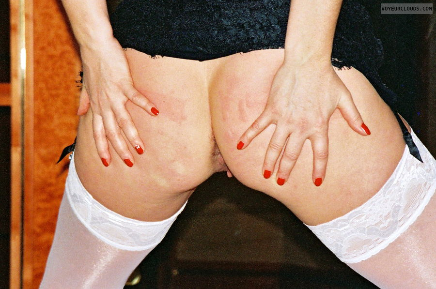 open ass, red nails, big ass, garters and nylons