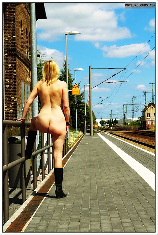 nude wife, ass, outdoor, public, milf, boots, blonde