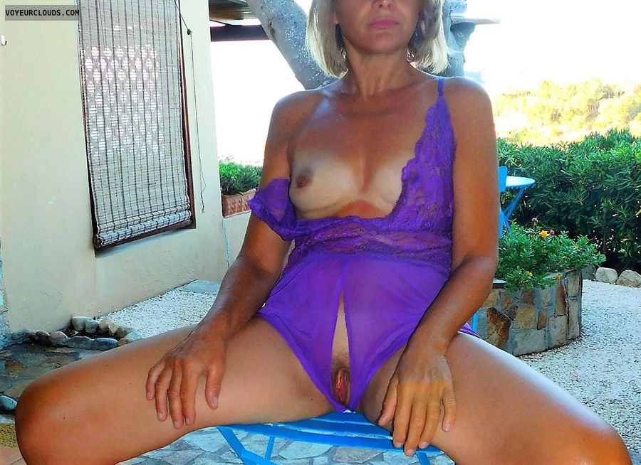anna, wife, outside, purle, tits, crotchless, spread