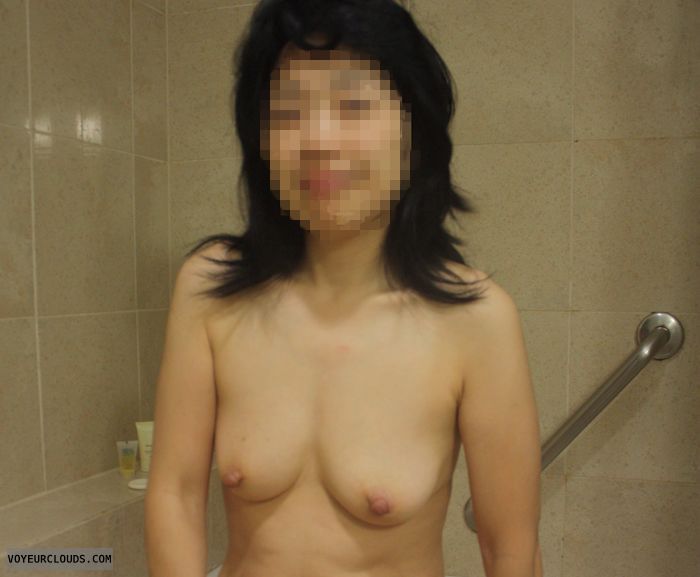 wife nude, asian, hard nipples, bathroom