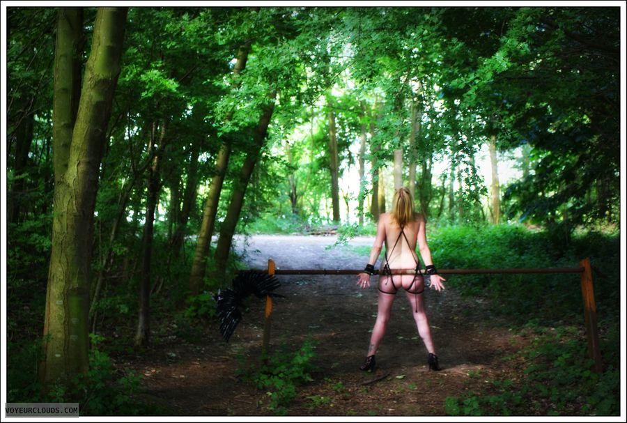 nude wife, outdoor, public, milf, ass, long legs, bound
