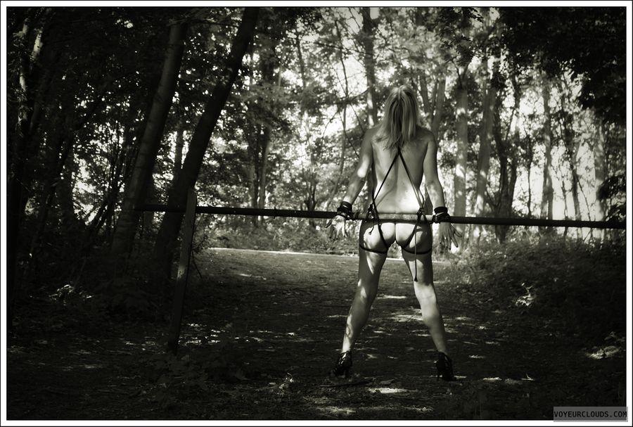 nude wife, bondage, public, outdoor, ass, long legs