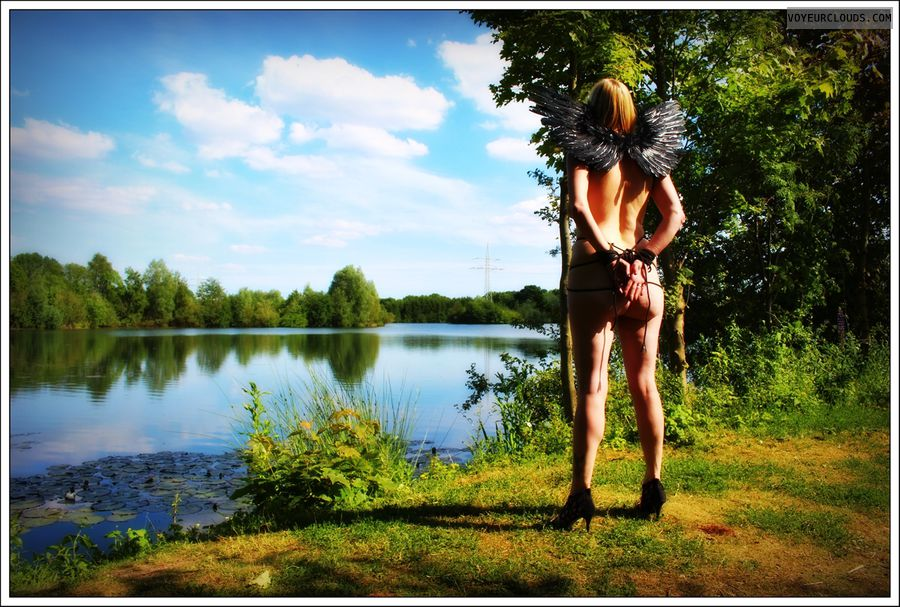 nude wife, bondage, outdoor, public, long legs, bound