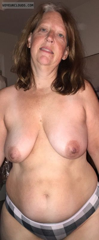 topless, hard nipples, big boobs, Mature woman
