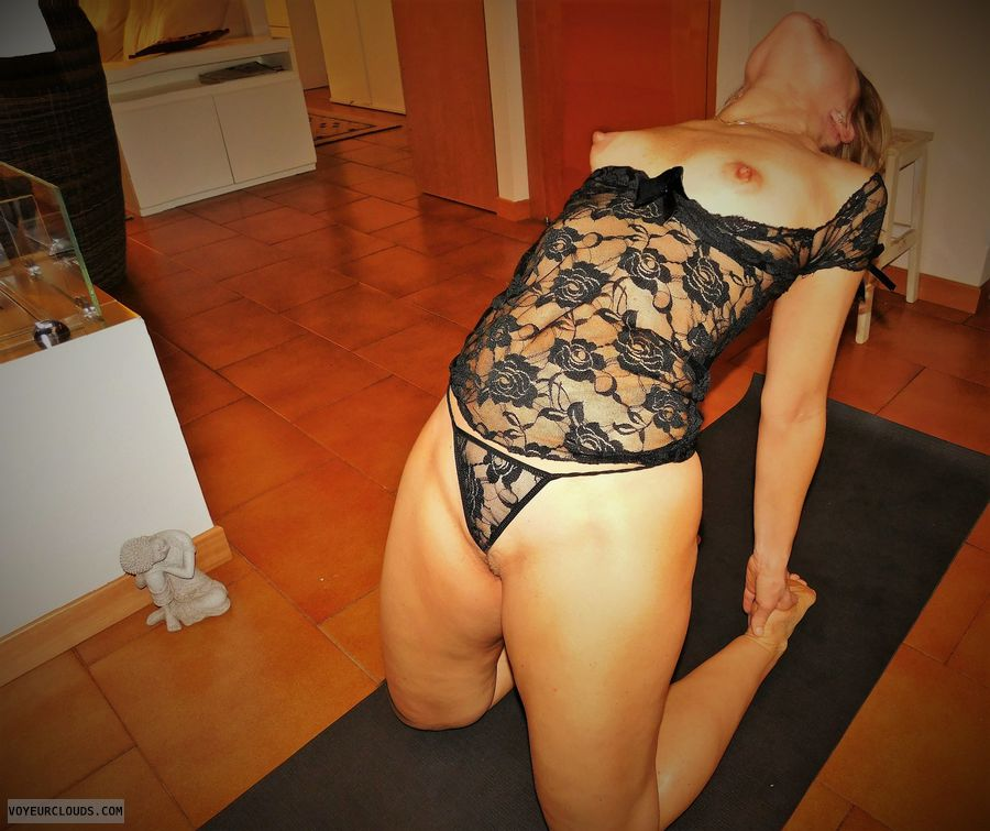 anna, wife, lingerie, yoga, tits, nipples