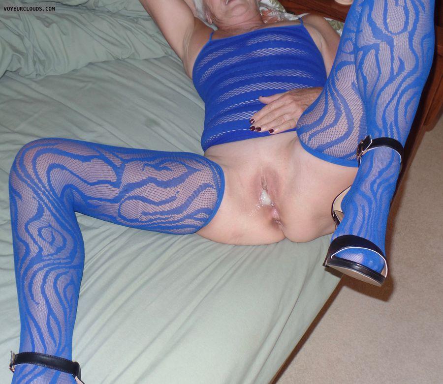 spread pussy, spread legs, nylons, cum, high heels