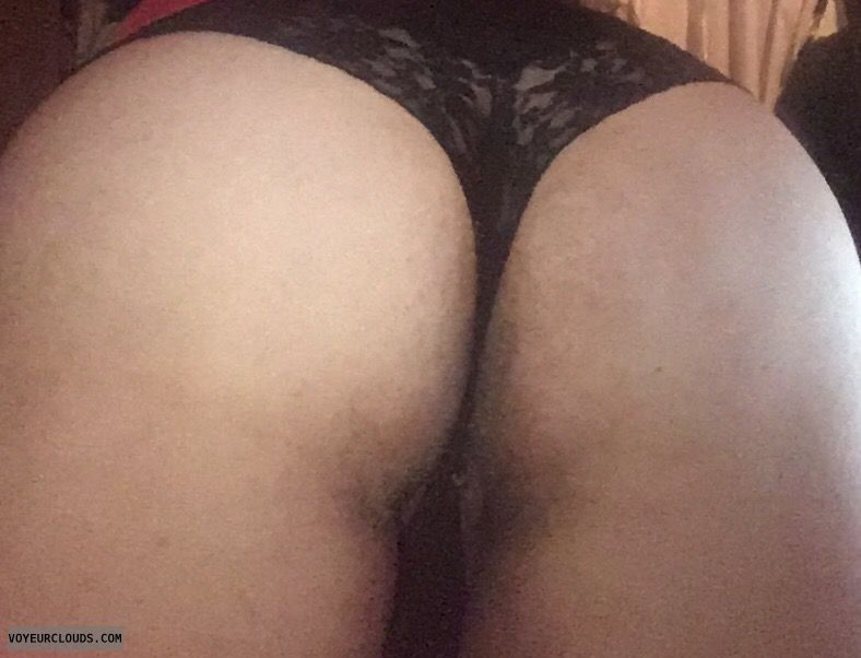 big ass, black thong, lace, round ass, pussy peek