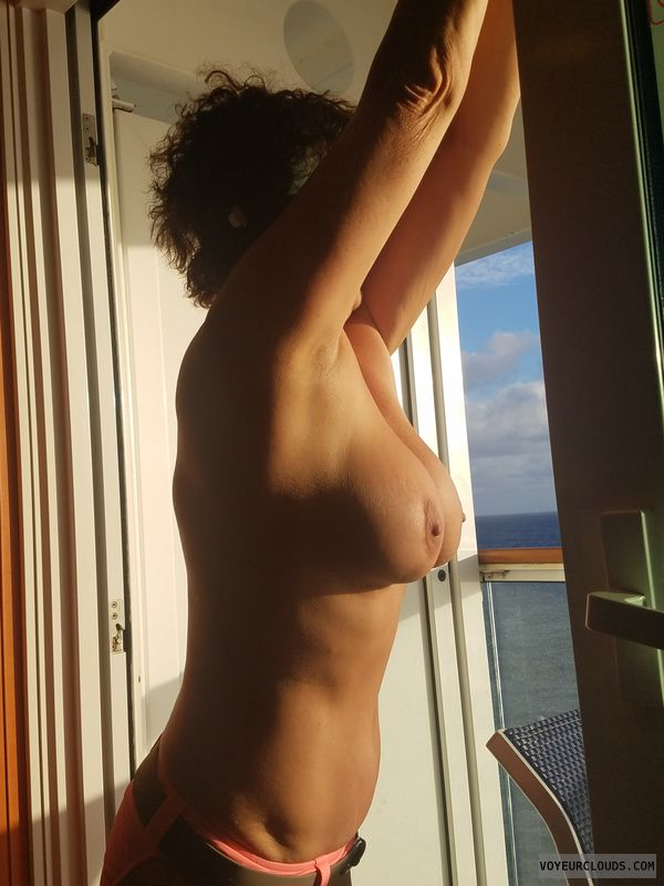 Cruising naked, Balcony flashing, GILF, big boobs