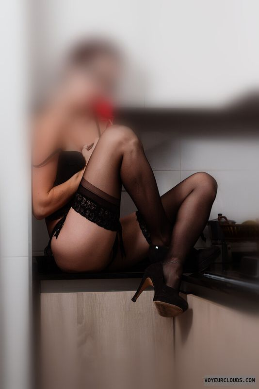 round Ass,  long legs, stokings, black lingerie, high heels