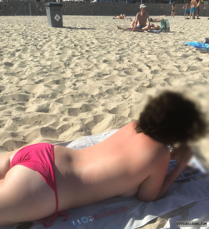 flashing, topless, beach, spectator, people, breasts