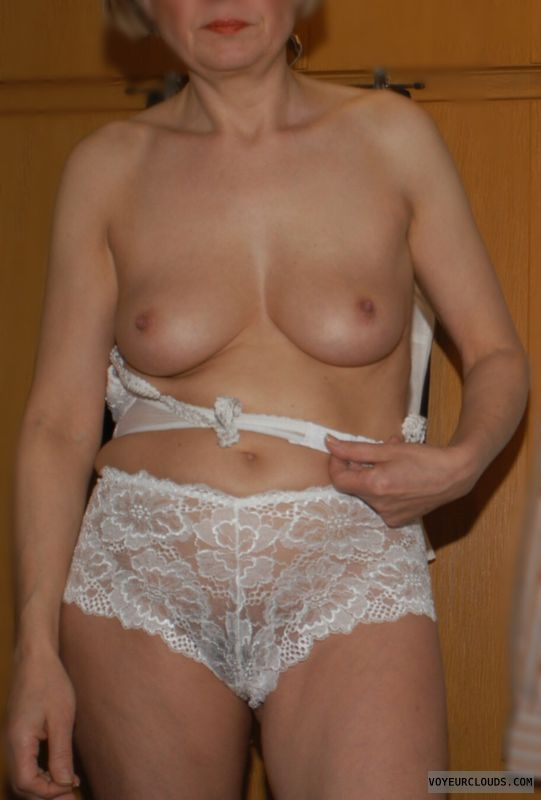 lace panty, small tits, hard nipples, topless, tits out