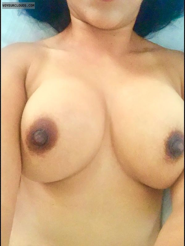 topless, dark areolas, My 32 DDs, big boobs, hard nipples