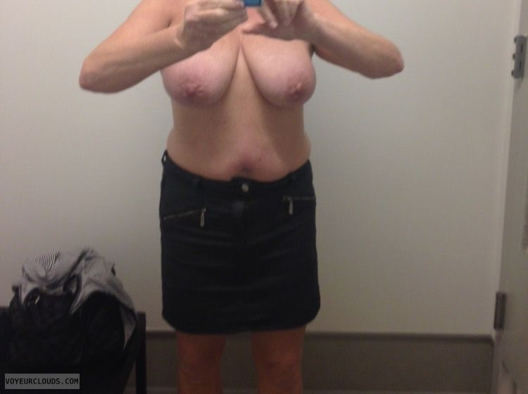 topless, big tits, breasts, hard nipples, skirt, selfie
