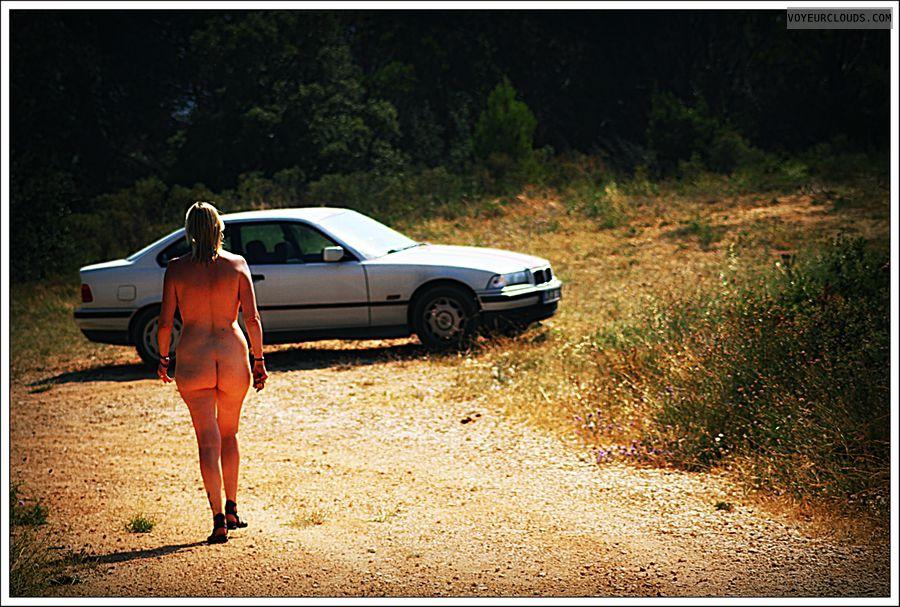 nude wife, outdoor, public, long legs, ass, frech