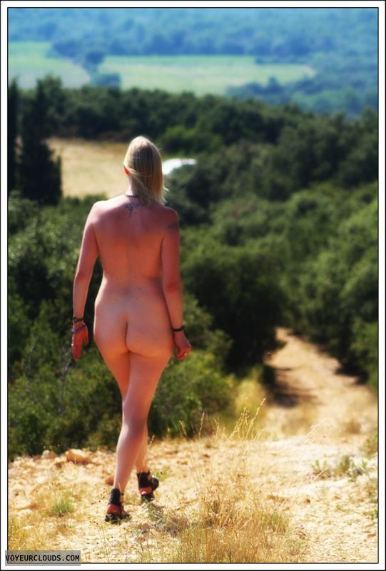 nude wife, ass, outdoor, public, long legs, blonde