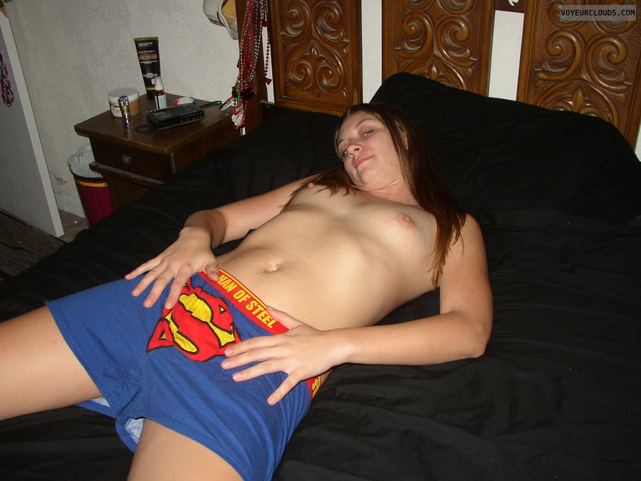 topless, small tits, supershorts, halloween, fun